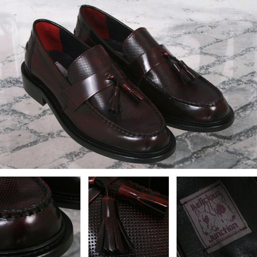 Delicious Junction Perforated Toe Tassel Loafers Mod Shoe Oxblood