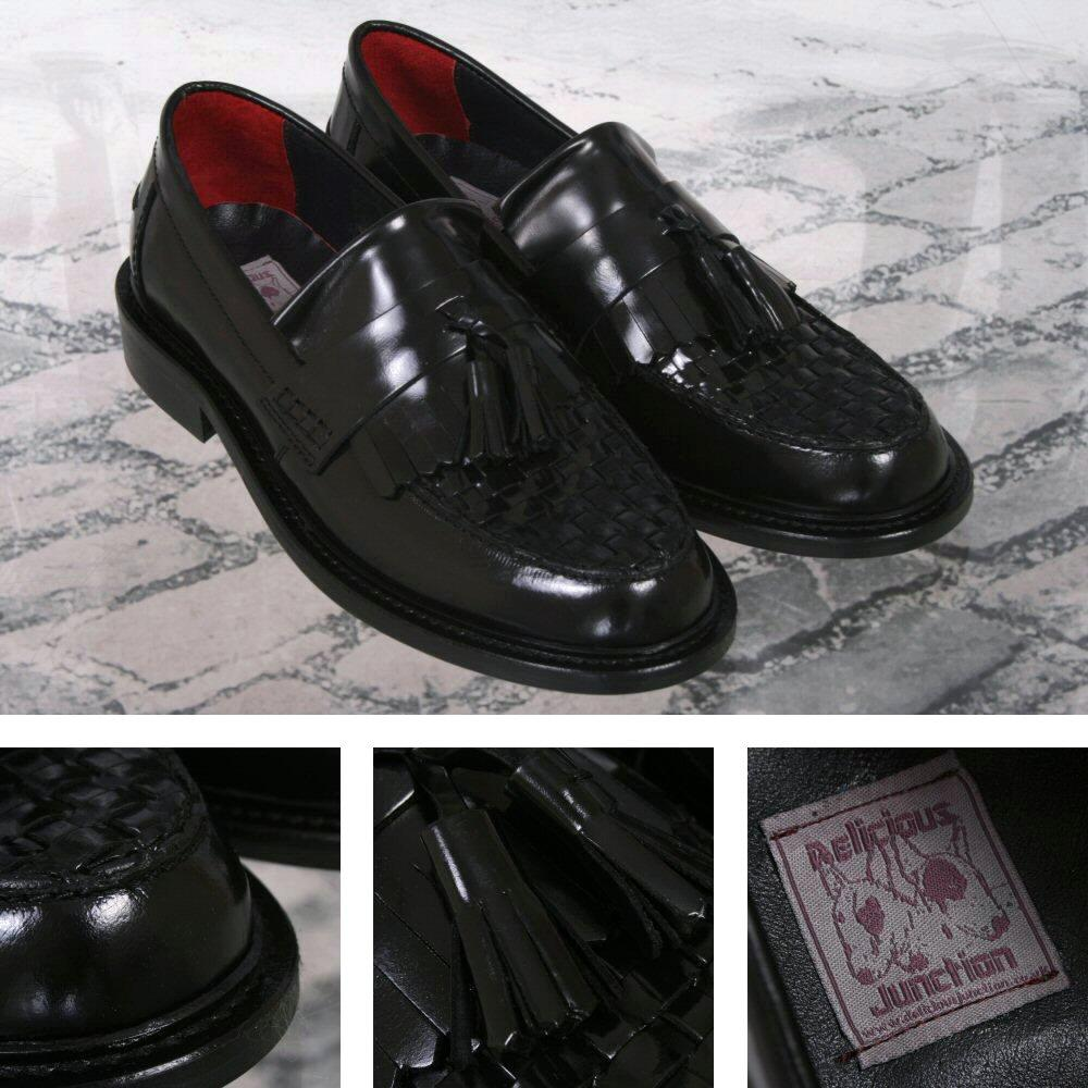 Delicious Junction Locky True Basket Weave Tassel Mod Loafer Shoe Black