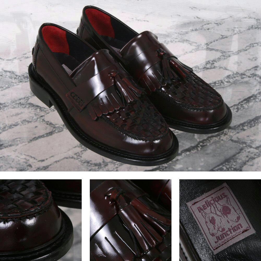 Delicious Junction Locky True Basket Weave Tassel Mod Loafer Shoe Oxblood