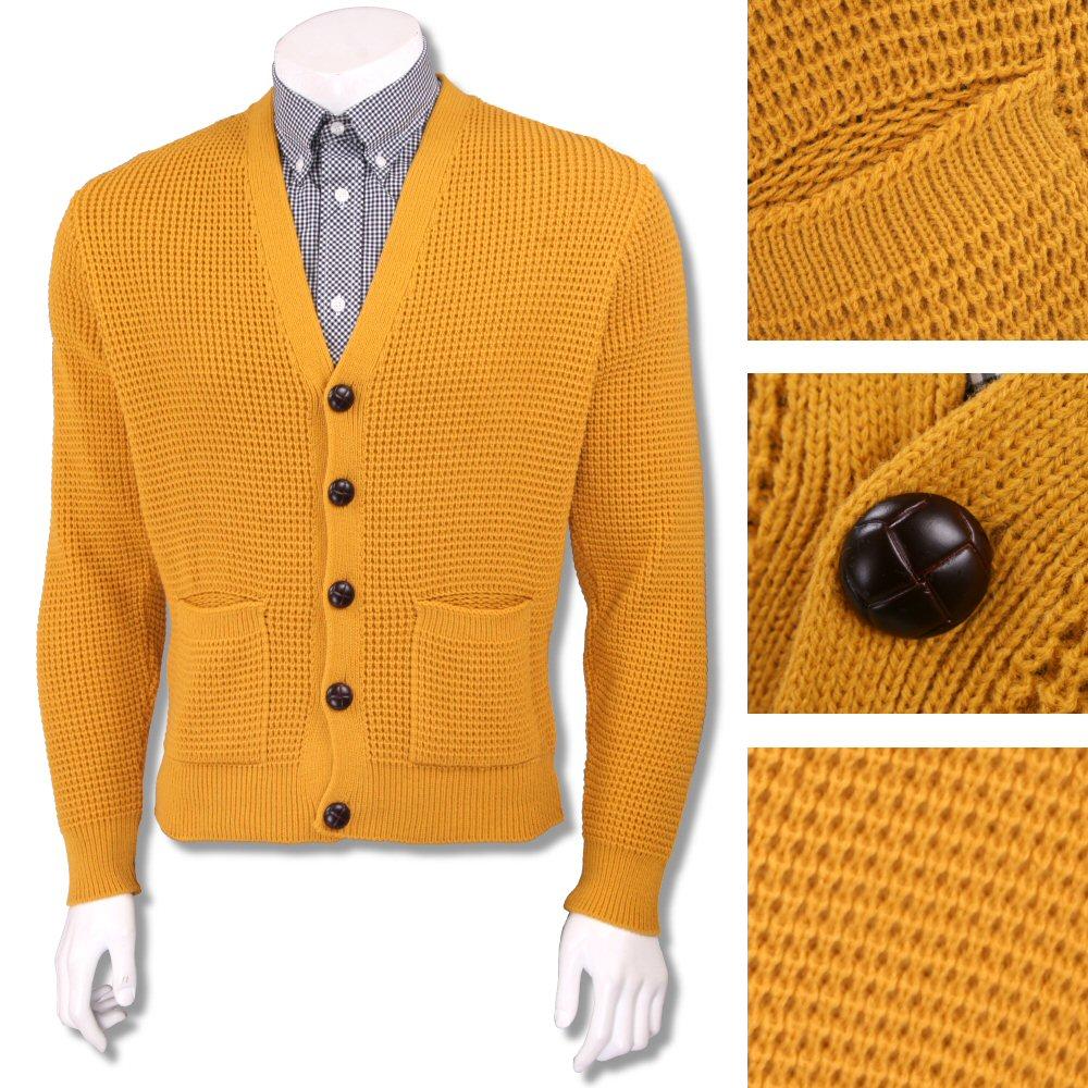 Skinhead Mod Pocket Waffle Knit Cardigan