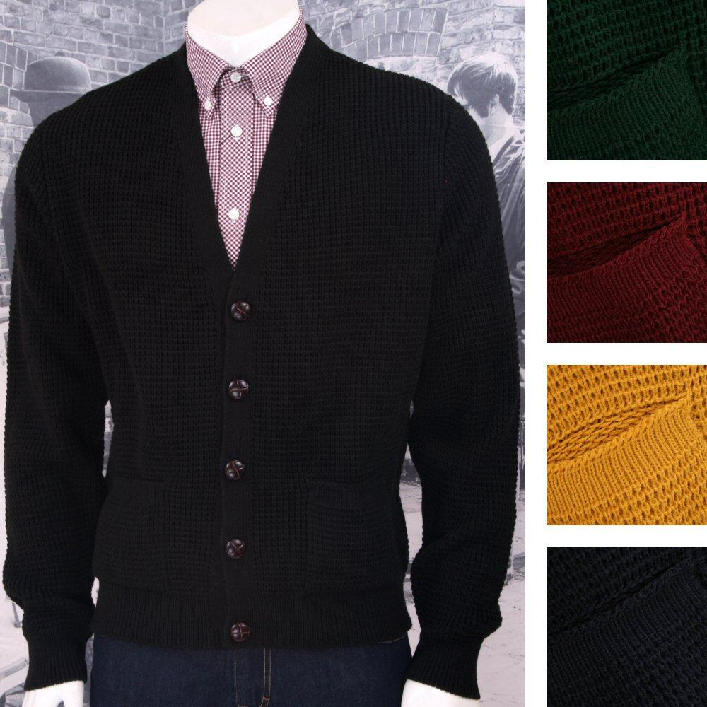 "Skinhead Mod Pocket Waffle Knit Cardigan ""leather"" Football Buttons"