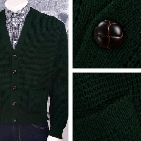 "Skinhead Mod Pocket Waffle Knit Cardigan ""leather"" Football Buttons Thumbnail 3"