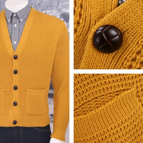 "Skinhead Mod Pocket Waffle Knit Cardigan ""leather"" Football Buttons Thumbnail 5"