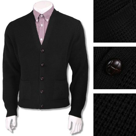 "Skinhead Mod Pocket Waffle Knit Cardigan ""leather"" Football Buttons Thumbnail 4"