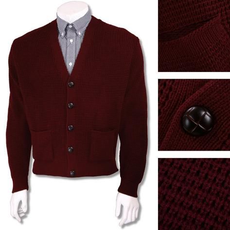 "Skinhead Mod Pocket Waffle Knit Cardigan ""leather"" Football Buttons Thumbnail 2"