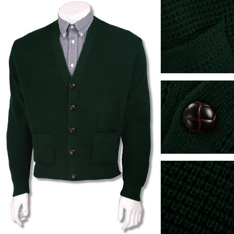 "Skinhead Mod Pocket Waffle Knit Cardigan ""leather"" Football Buttons Thumbnail 7"