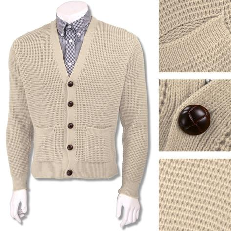 "Skinhead Mod Pocket Waffle Knit Cardigan ""leather"" Football Buttons Thumbnail 6"