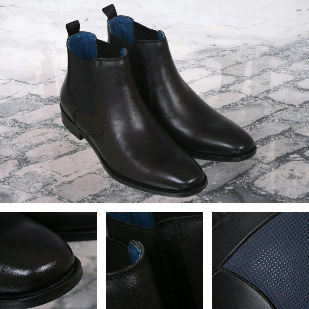 Justin Reece Classic Smart Casual Leather Chelsea Boot Smooth Black