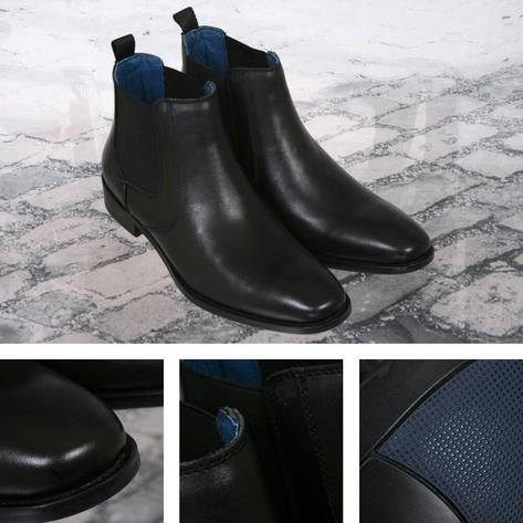 Justin Reece Classic Smart Casual Leather Chelsea Boot Smooth Black Thumbnail 1
