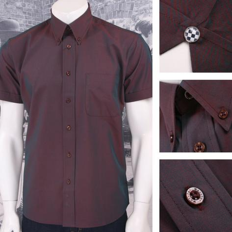 SPECIAL OFFER Warrior Button Down 2 Tone Tonic S/S Shirt Burgundy Thumbnail 1