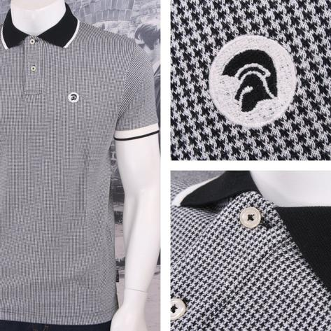 SPECIAL OFFER Trojan Records Limited Edition Retro Dogtooth Jacquard Polo Shirt Thumbnail 4
