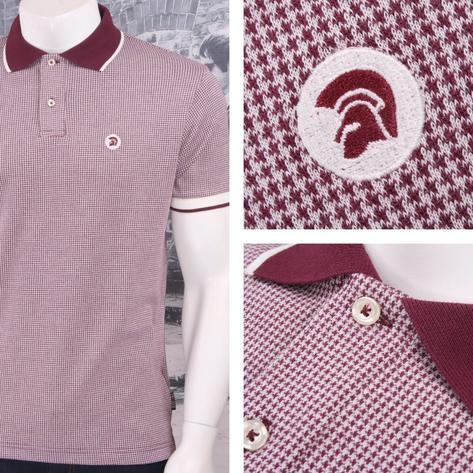 SPECIAL OFFER Trojan Records Limited Edition Retro Dogtooth Jacquard Polo Shirt Thumbnail 2