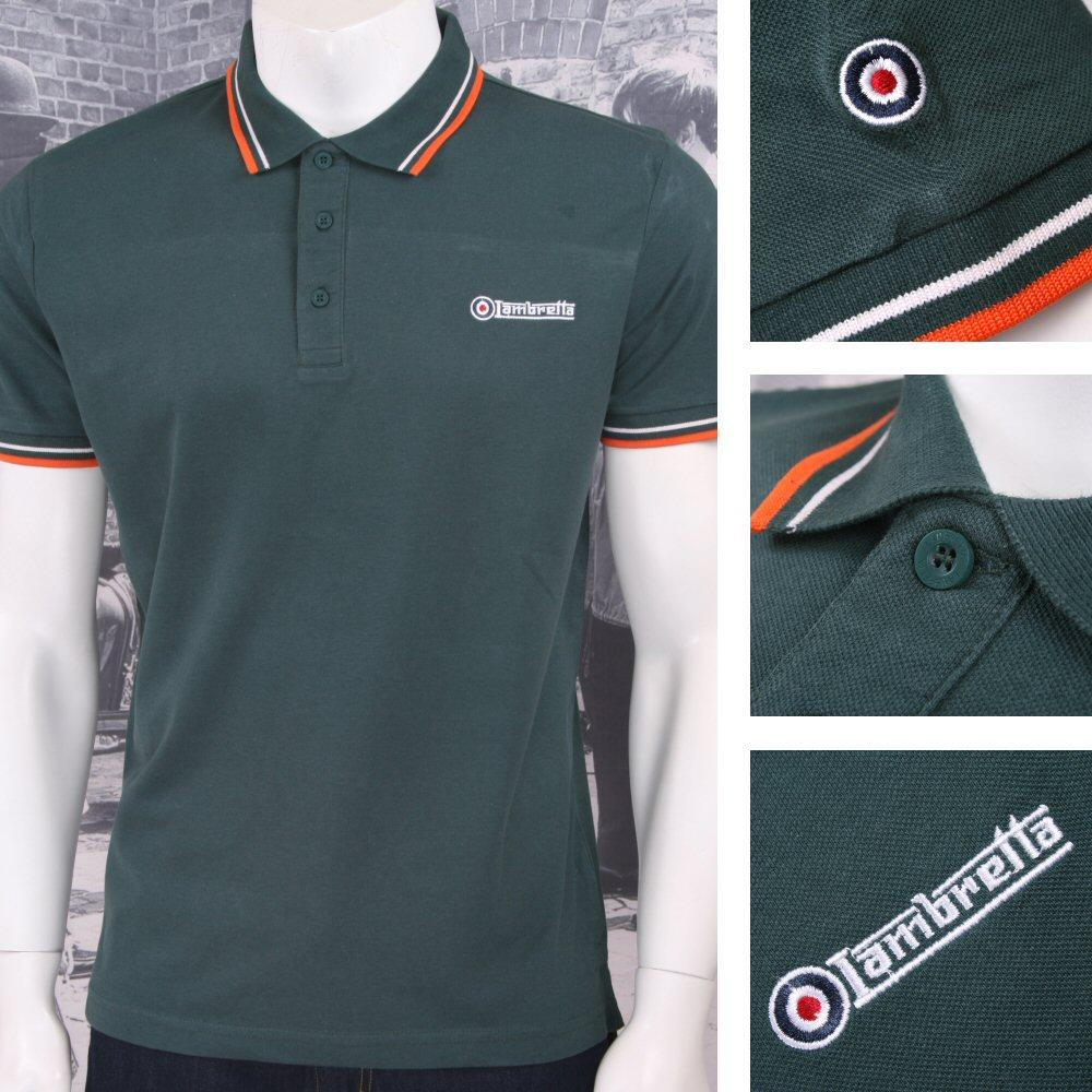 Lambretta Mod Retro 60's 3 Button S/S Twin-Tipped Pique Polo Shirt Green