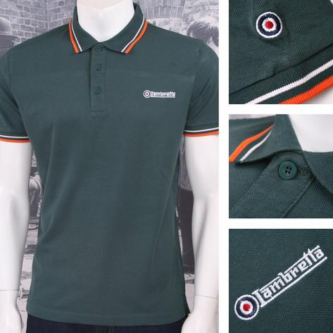Lambretta Mod Retro 60's 3 Button S/S Twin-Tipped Pique Polo Shirt Green Thumbnail 1