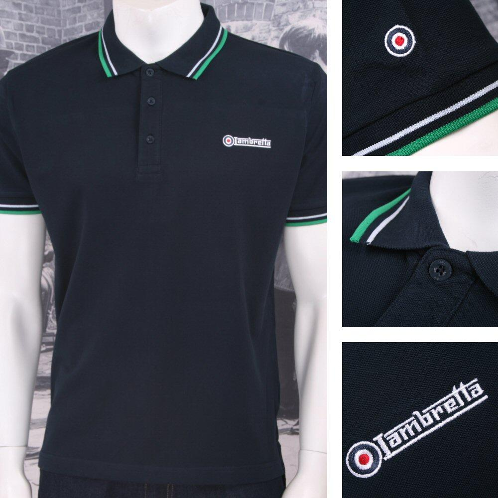 Lambretta Mod Retro 60's 3 Button S/S Twin-Tipped Pique Polo Shirt Navy Green