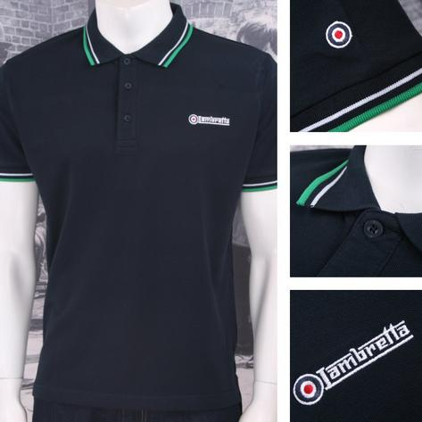 Lambretta Mod Retro 60's 3 Button S/S Twin-Tipped Pique Polo Shirt Navy Green Thumbnail 1