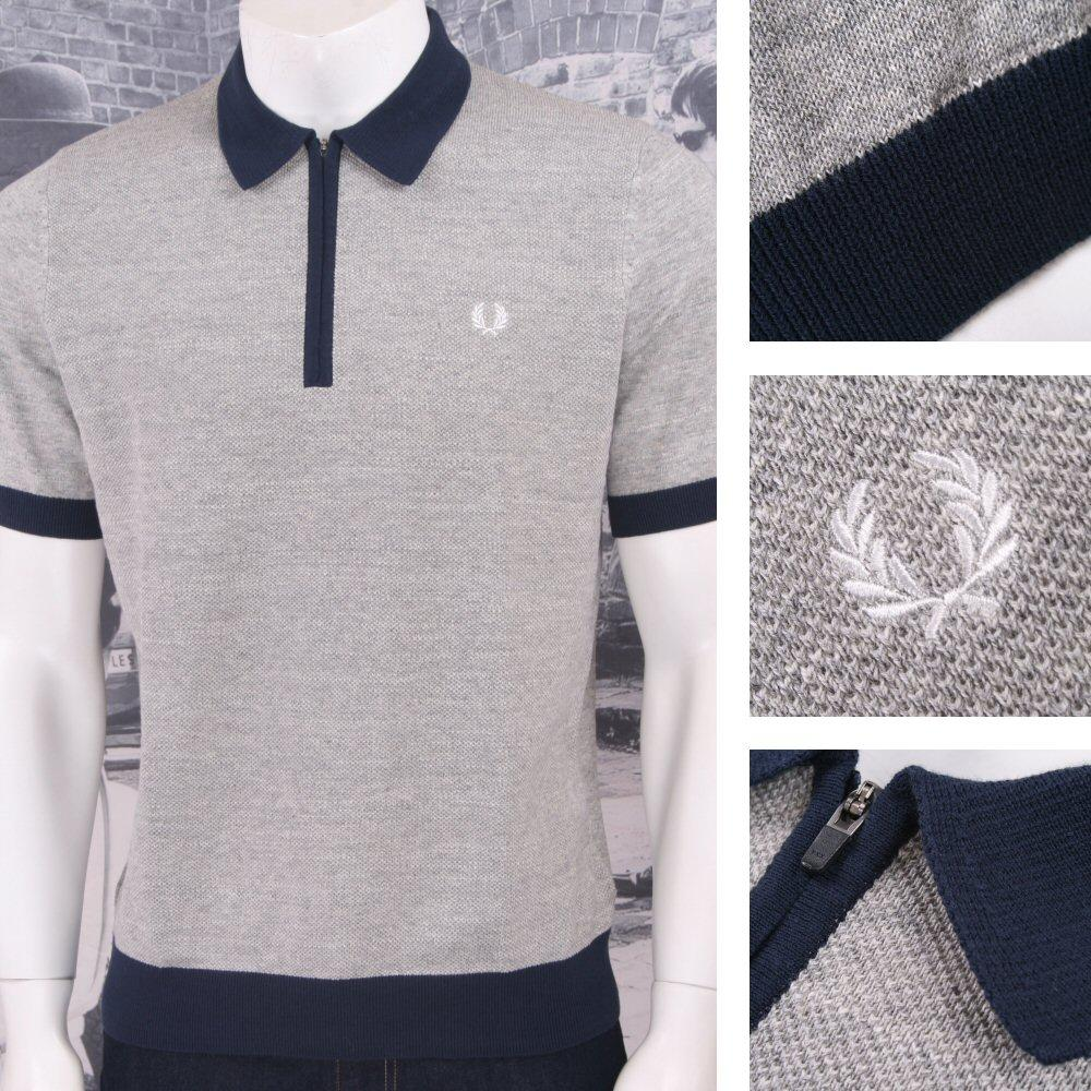 Fred Perry Mod 60's Laurel Wreath Zip Collar Marl Waffle Knit Polo Shirt Grey