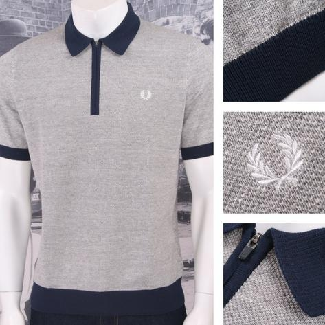 Fred Perry Mod 60's Laurel Wreath Zip Collar Marl Waffle Knit Polo Shirt Grey Thumbnail 1