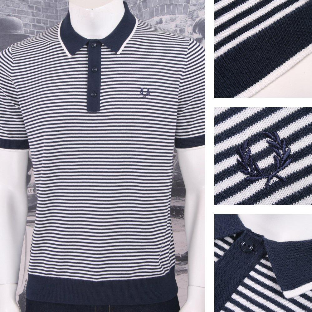 Fred Perry Mod 60's Laurel Wreath Fine Breton Stripe Knit Polo Shirt Navy White