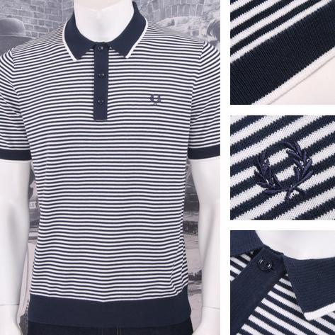 Fred Perry Mod 60's Laurel Wreath Fine Breton Stripe Knit Polo Shirt Navy White Thumbnail 1