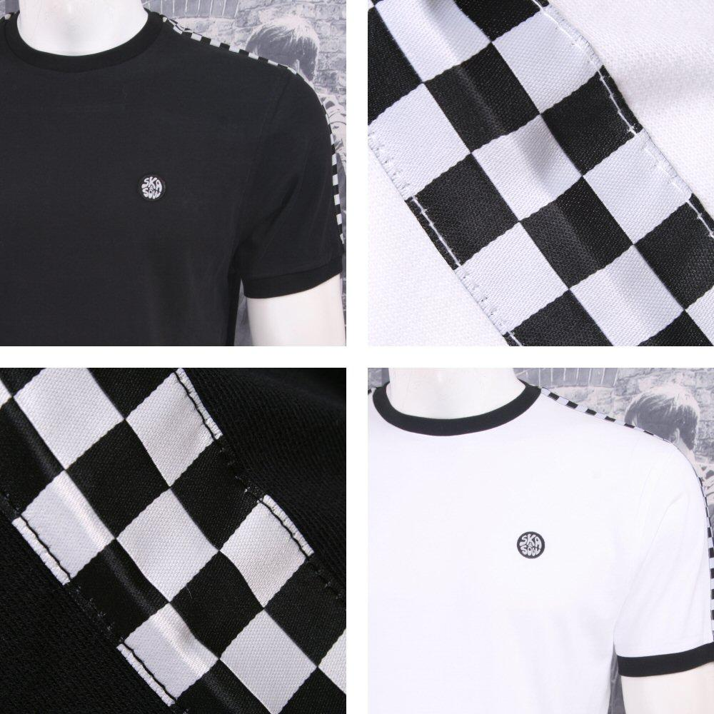 Ska & Soul Mod Retro 60's Skin Checker Band Ringer Crew Neck T-Shirt