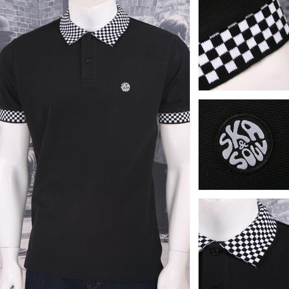 Ska & Soul Mod Retro 60's Skin Mod Checkerboard Collar Pique Polo Shirt Black