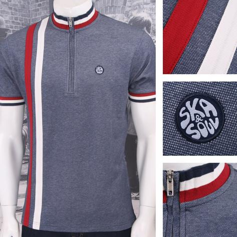 Ska & Soul Mod Retro 60's 2Tone Tonic Zip Collar Racing Stripe Cycling Top Navy Thumbnail 1