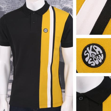 Ska & Soul Mod Retro 60's Vertical Multi Half Stripe Panel Pique Polo Shirt Thumbnail 2