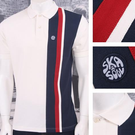 Ska & Soul Mod Retro 60's Vertical Multi Half Stripe Panel Pique Polo Shirt Thumbnail 3