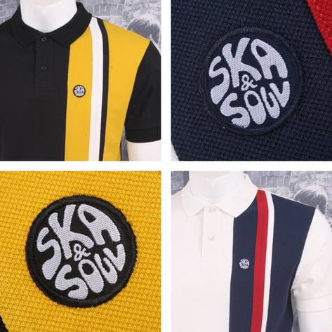 Ska & Soul Mod Retro 60's Vertical Multi Half Stripe Panel Pique Polo Shirt Thumbnail 1