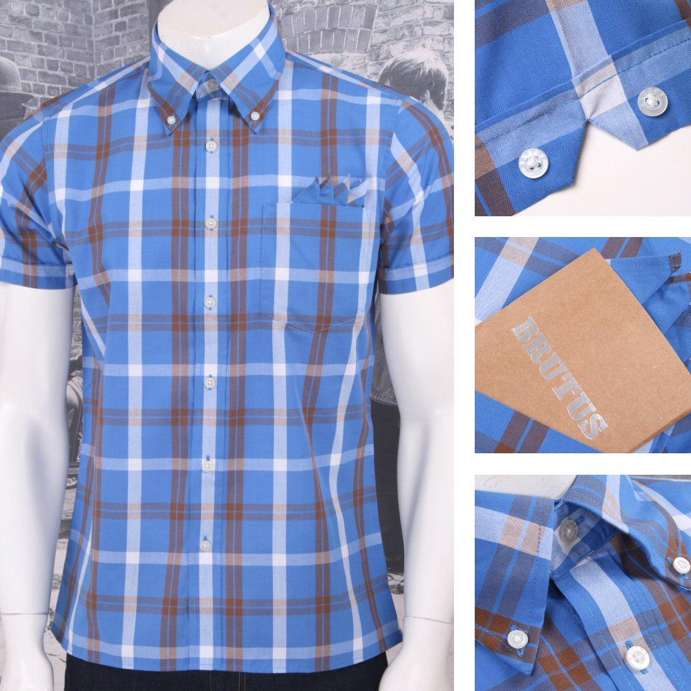 Brutus Trimfit Mod Skin Retro Windowpane Check S/S Shirt Blue/Brown