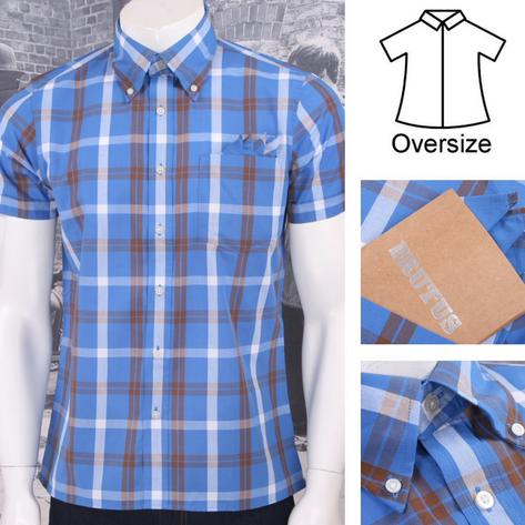 Brutus Greatfit Mod Skin Retro Windowpane Check S/S Shirt Blue/Brown Thumbnail 1