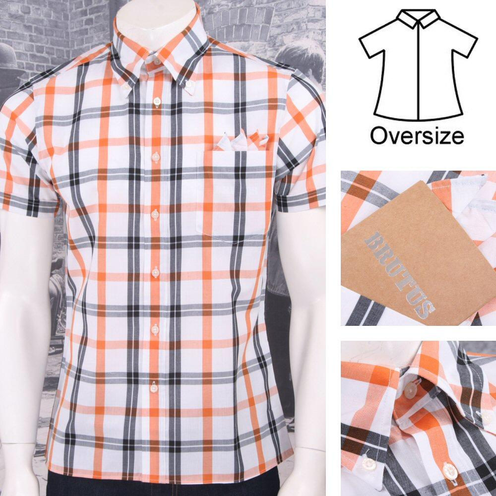 Brutus Greatfit Mod Skin Retro Windowpane Check S/S Shirt White/Orange