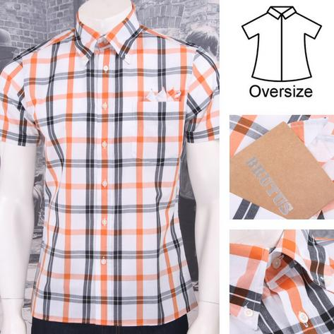 Brutus Greatfit Mod Skin Retro Windowpane Check S/S Shirt White/Orange Thumbnail 1