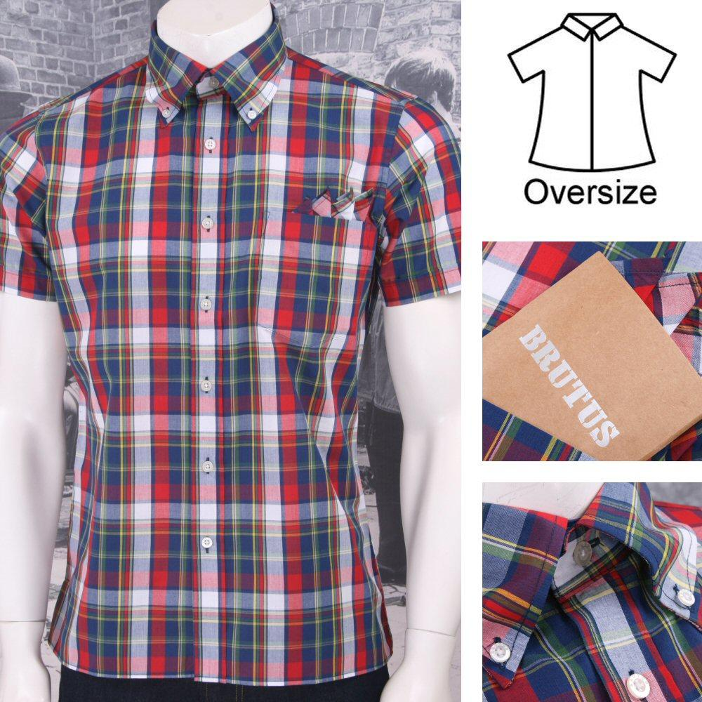 Brutus Greatfit Mod Skin Retro Ivy Style Plaid Madras Check S/S Shirt Red