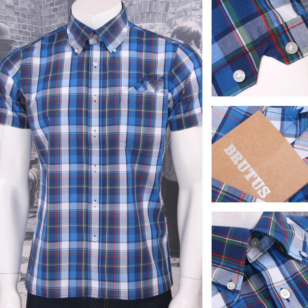 Brutus Trimfit Mod Skin Retro Ivy Style Plaid Madras Check S/S Shirt Blue