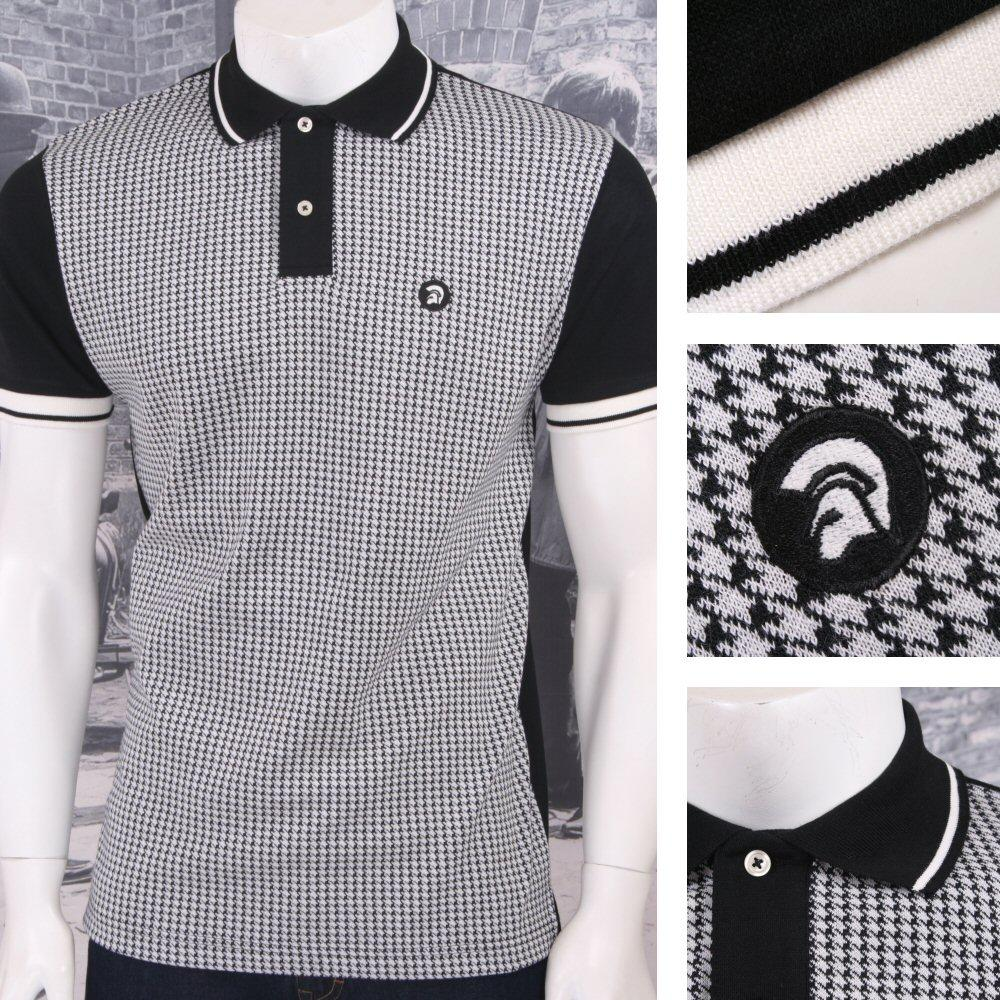 Trojan Records Retro Mod Skin 60's Ska Retro Houndstooth Fron Polo Shirt Black