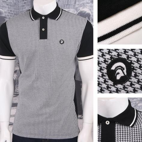 Trojan Records Retro Mod Skin 60's Ska Retro Houndstooth Fron Polo Shirt Black Thumbnail 1