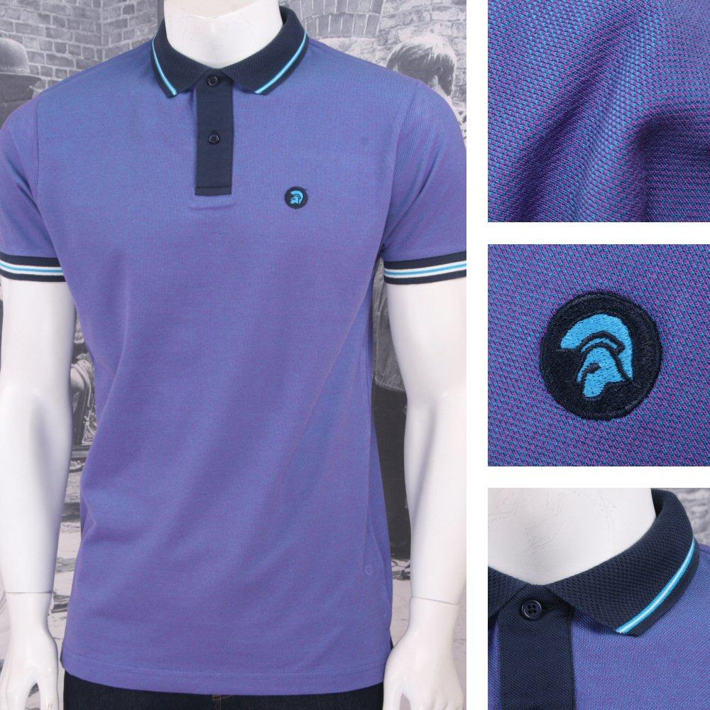Trojan Records Retro Mod Skin 60's Ska Two Tone Tonic Tipped Polo Shirt Purple