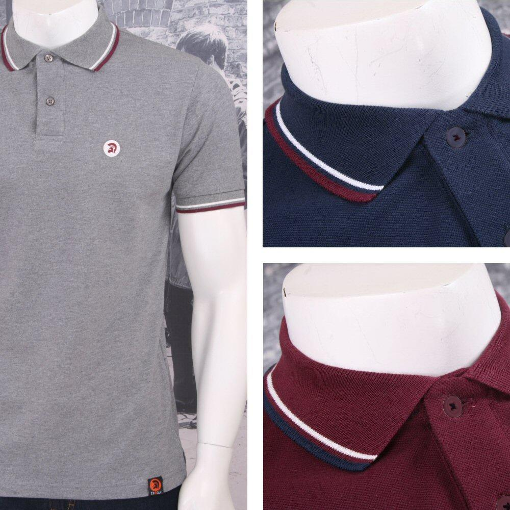 Trojan Records Retro Mod Skin 60's Ska Tipped 2 Button Placket Polo Shirt