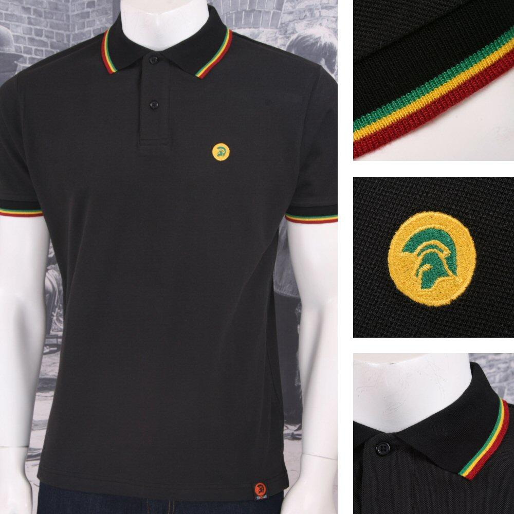Trojan Records Retro Mod Skin 60's Ska Reggae Jamaican Tipped Polo Shirt Black