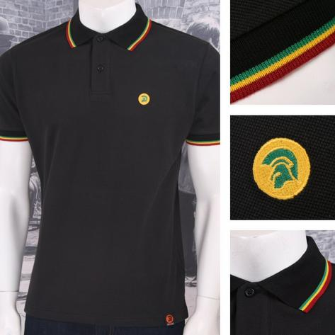 Trojan Records Retro Mod Skin 60's Ska Reggae Jamaican Tipped Polo Shirt Black Thumbnail 1