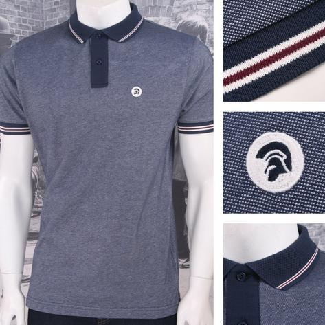 Trojan Records Retro Mod Skin 60's Ska Two Tone Tonic Tipped Pique Polo Navy Thumbnail 1