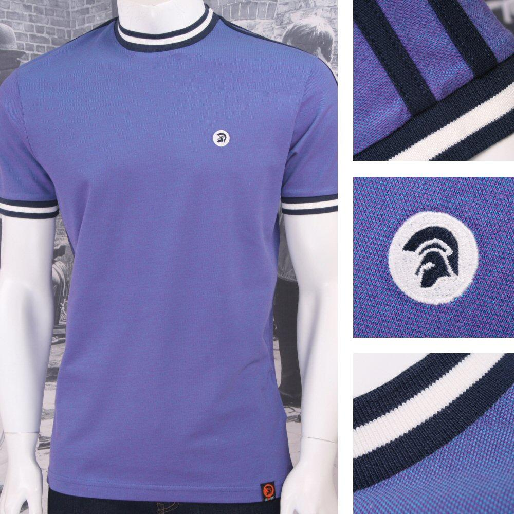 Trojan Records Retro Mod Skin 60's Ska Two Tone Tonic Tipped Ringer T-Shirt Purp