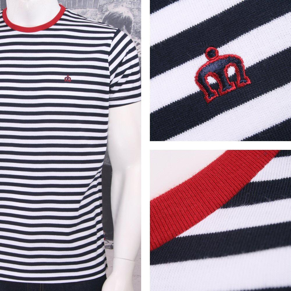 Merc London Mod Retro Indie 60's Breton Stripe Crew Neck T-Shirt Navy