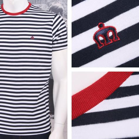 Merc London Mod Retro Indie 60's Breton Stripe Crew Neck T-Shirt Navy Thumbnail 1