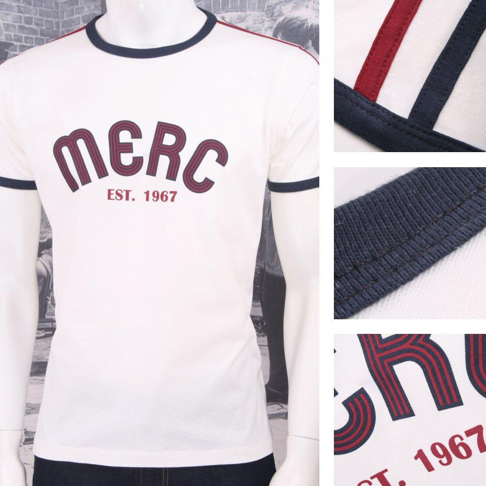 Merc London Mod Retro 60's 70's Stripe Ringer Logo Print T-Shirt White