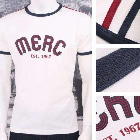 Merc London Mod Retro 60's 70's Stripe Ringer Logo Print T-Shirt White Thumbnail 1