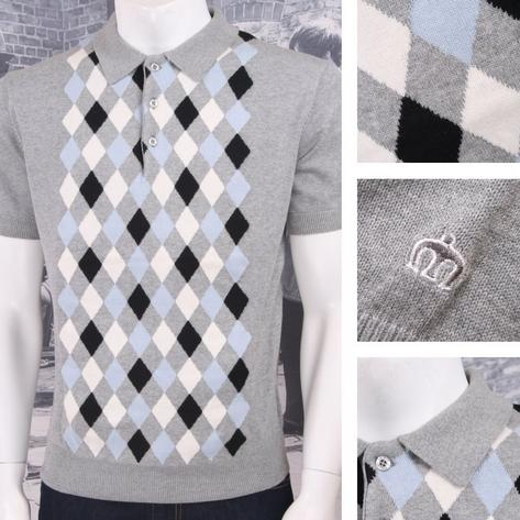Merc London Mod Retro 60's Contrast Diamond Knit Polo Shirt Thumbnail 2
