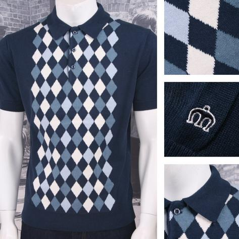 Merc London Mod Retro 60's Contrast Diamond Knit Polo Shirt Thumbnail 3